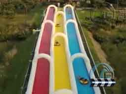 大型充气滑道 水上滑道趣味游乐体验